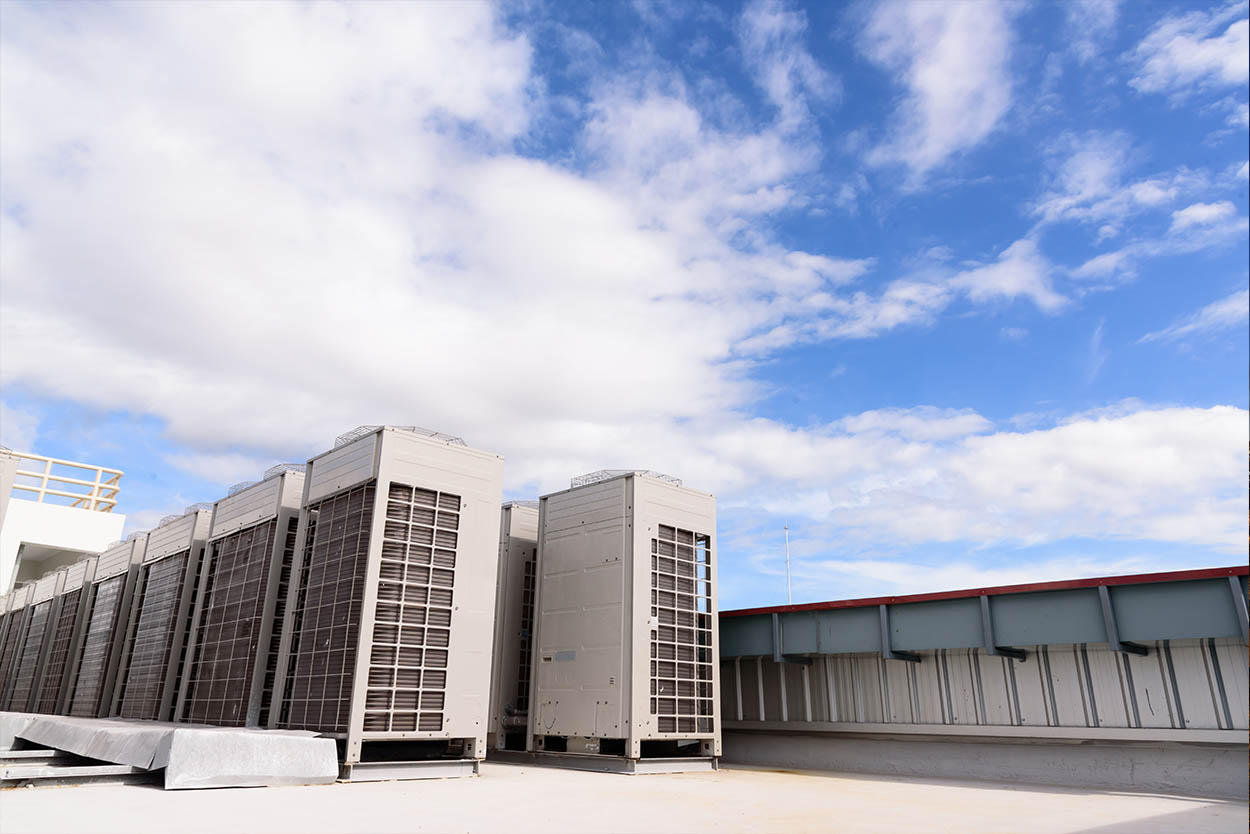 Industrial aircon units on building roof